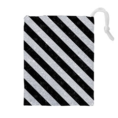 Stripes3 Black Marble & Silver Glitter Drawstring Pouches (extra Large)