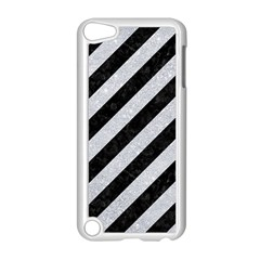 Stripes3 Black Marble & Silver Glitter (r) Apple Ipod Touch 5 Case (white)