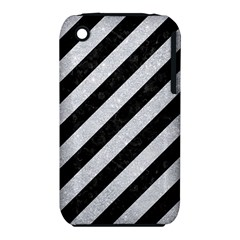 Stripes3 Black Marble & Silver Glitter (r) Iphone 3s/3gs
