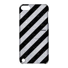 Stripes3 Black Marble & Silver Glitter (r) Apple Ipod Touch 5 Hardshell Case With Stand