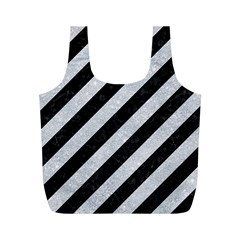 Stripes3 Black Marble & Silver Glitter (r) Full Print Recycle Bags (m)