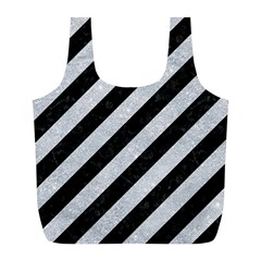 Stripes3 Black Marble & Silver Glitter (r) Full Print Recycle Bags (l)