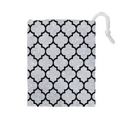 Tile1 Black Marble & Silver Glitter Drawstring Pouches (large)