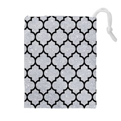 Tile1 Black Marble & Silver Glitter Drawstring Pouches (extra Large)