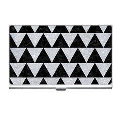 Triangle2 Black Marble & Silver Glitter Business Card Holders