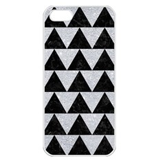 Triangle2 Black Marble & Silver Glitter Apple Iphone 5 Seamless Case (white)