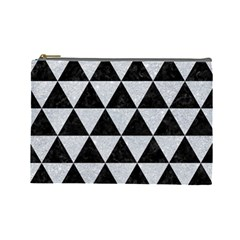 Triangle3 Black Marble & Silver Glitter Cosmetic Bag (large)