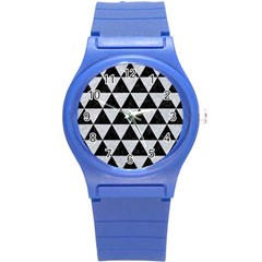 Triangle3 Black Marble & Silver Glitter Round Plastic Sport Watch (s)