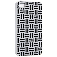 Woven1 Black Marble & Silver Glitter Apple Iphone 4/4s Seamless Case (white)