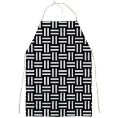 Woven1 Black Marble & Silver Glitter (r) Full Print Aprons