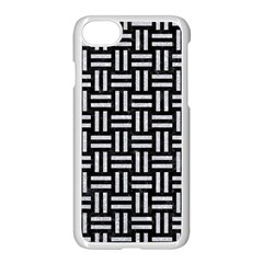 Woven1 Black Marble & Silver Glitter (r) Apple Iphone 8 Seamless Case (white)