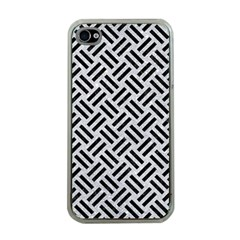 Woven2 Black Marble & Silver Glitter Apple Iphone 4 Case (clear)