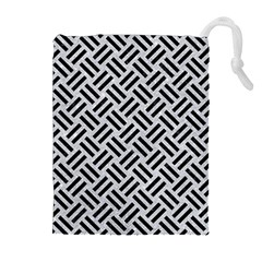 Woven2 Black Marble & Silver Glitter Drawstring Pouches (extra Large)