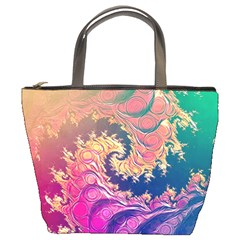 Rainbow Octopus Tentacles In A Fractal Spiral Bucket Bags