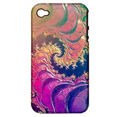 Rainbow Octopus Tentacles In A Fractal Spiral Apple Iphone 4/4s Hardshell Case (pc+silicone)
