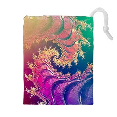 Rainbow Octopus Tentacles In A Fractal Spiral Drawstring Pouches (extra Large)