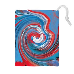 Red And Blue Rounds Drawstring Pouches (extra Large)