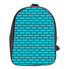 Brick1 Black Marble & Turquoise Colored Pencil School Bag (large)