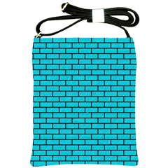 Brick1 Black Marble & Turquoise Colored Pencil Shoulder Sling Bags