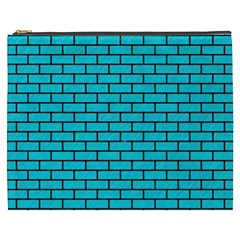Brick1 Black Marble & Turquoise Colored Pencil Cosmetic Bag (xxxl)