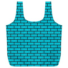 Brick1 Black Marble & Turquoise Colored Pencil Full Print Recycle Bags (l)