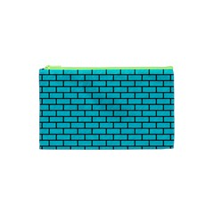 Brick1 Black Marble & Turquoise Colored Pencil Cosmetic Bag (xs)