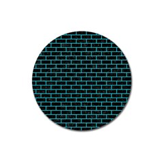 Brick1 Black Marble & Turquoise Colored Pencil (r) Magnet 3  (round)