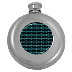 Brick1 Black Marble & Turquoise Colored Pencil (r) Round Hip Flask (5 Oz)