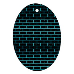 Brick1 Black Marble & Turquoise Colored Pencil (r) Oval Ornament (two Sides)