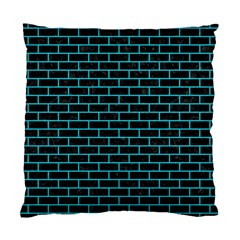 Brick1 Black Marble & Turquoise Colored Pencil (r) Standard Cushion Case (one Side)