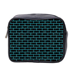 Brick1 Black Marble & Turquoise Colored Pencil (r) Mini Toiletries Bag 2 Side