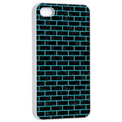 Brick1 Black Marble & Turquoise Colored Pencil (r) Apple Iphone 4/4s Seamless Case (white)