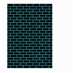 Brick1 Black Marble & Turquoise Colored Pencil (r) Large Garden Flag (two Sides)