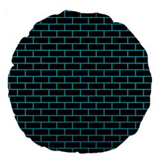 Brick1 Black Marble & Turquoise Colored Pencil (r) Large 18  Premium Round Cushions