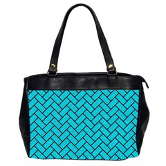 Brick2 Black Marble & Turquoise Colored Pencil Office Handbags (2 Sides)