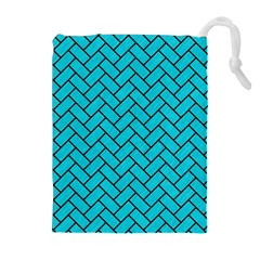 Brick2 Black Marble & Turquoise Colored Pencil Drawstring Pouches (extra Large)
