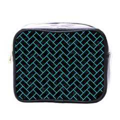 Brick2 Black Marble & Turquoise Colored Pencil (r) Mini Toiletries Bags