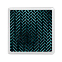 Brick2 Black Marble & Turquoise Colored Pencil (r) Memory Card Reader (square)