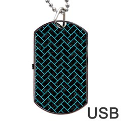 Brick2 Black Marble & Turquoise Colored Pencil (r) Dog Tag Usb Flash (one Side)