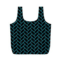 Brick2 Black Marble & Turquoise Colored Pencil (r) Full Print Recycle Bags (m)