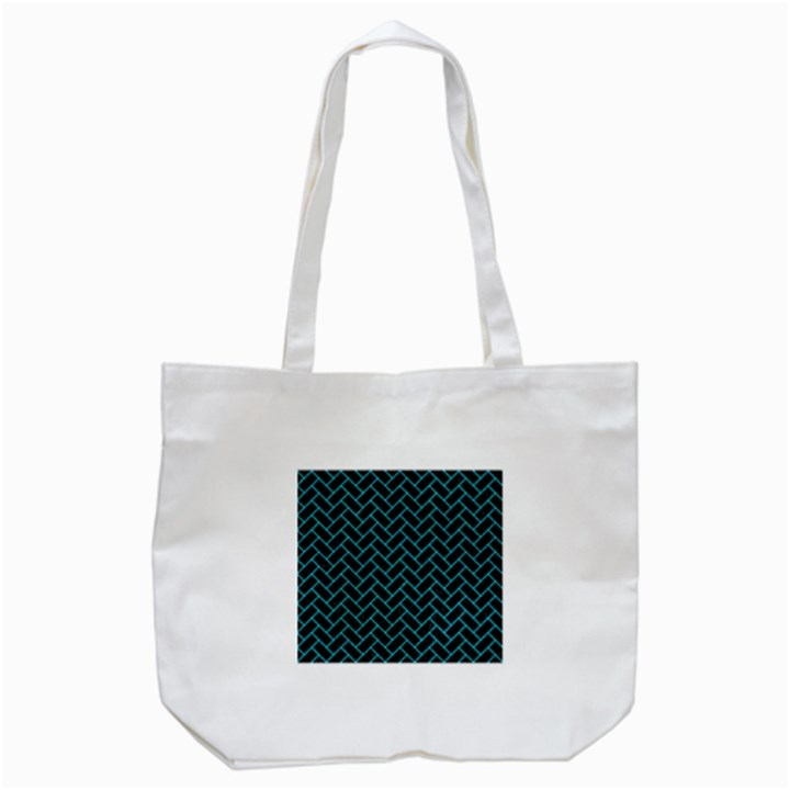 BRICK2 BLACK MARBLE & TURQUOISE COLORED PENCIL (R) Tote Bag (White)