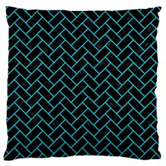 Brick2 Black Marble & Turquoise Colored Pencil (r) Standard Flano Cushion Case (two Sides)