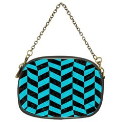 Chevron1 Black Marble & Turquoise Colored Pencil Chain Purses (two Sides)