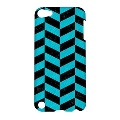 Chevron1 Black Marble & Turquoise Colored Pencil Apple Ipod Touch 5 Hardshell Case