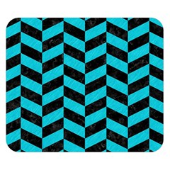 Chevron1 Black Marble & Turquoise Colored Pencil Double Sided Flano Blanket (small)