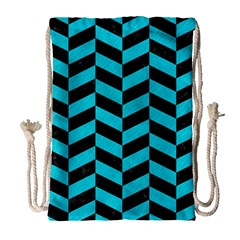 Chevron1 Black Marble & Turquoise Colored Pencil Drawstring Bag (large)