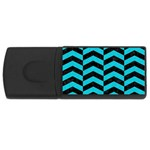 CHEVRON2 BLACK MARBLE & TURQUOISE COLORED PENCIL Rectangular USB Flash Drive Front