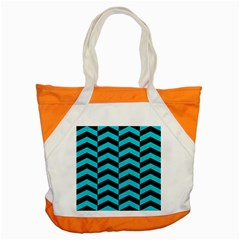 Chevron2 Black Marble & Turquoise Colored Pencil Accent Tote Bag