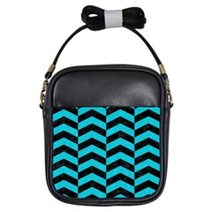 Chevron2 Black Marble & Turquoise Colored Pencil Girls Sling Bags