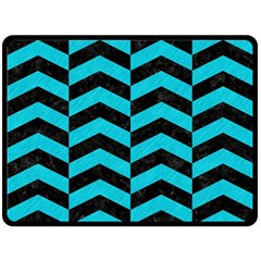 Chevron2 Black Marble & Turquoise Colored Pencil Double Sided Fleece Blanket (large)